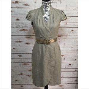 Antonio Melani Gray Belted Faux Wrap Dress